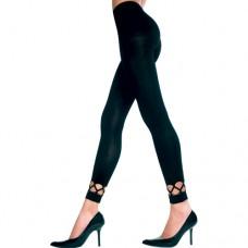 Lange Legging Met Opengewerkte Onderkant - Zwart