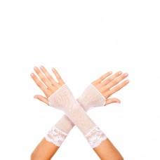 Korte Visnet Handschoenen Met Kant - Wit
